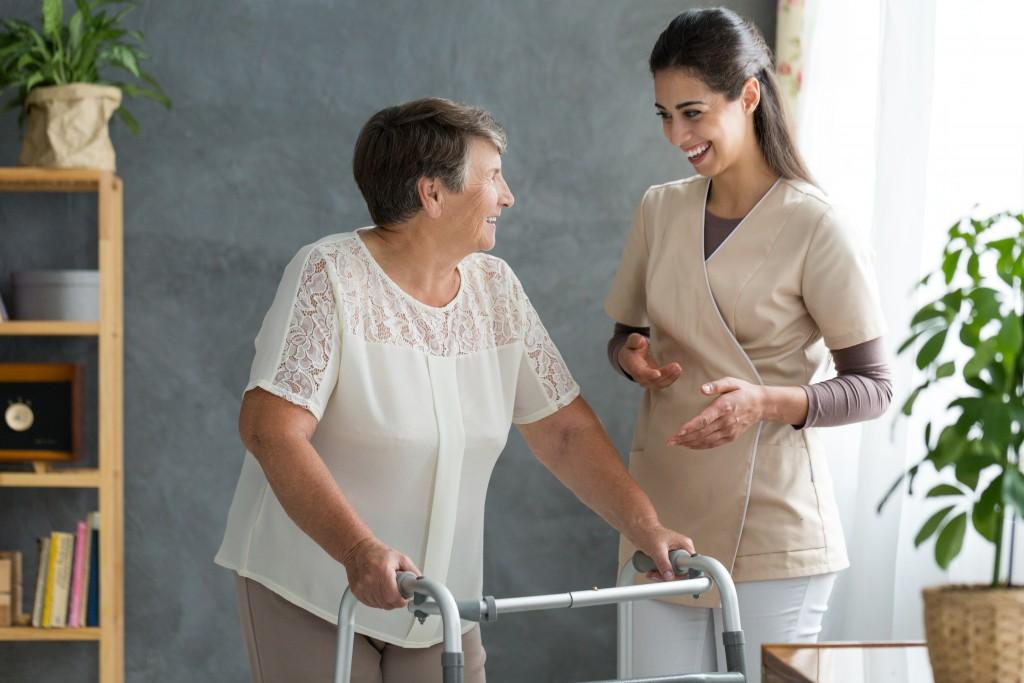 elderly with her nurse
