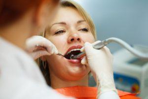 woman having her teeth clean