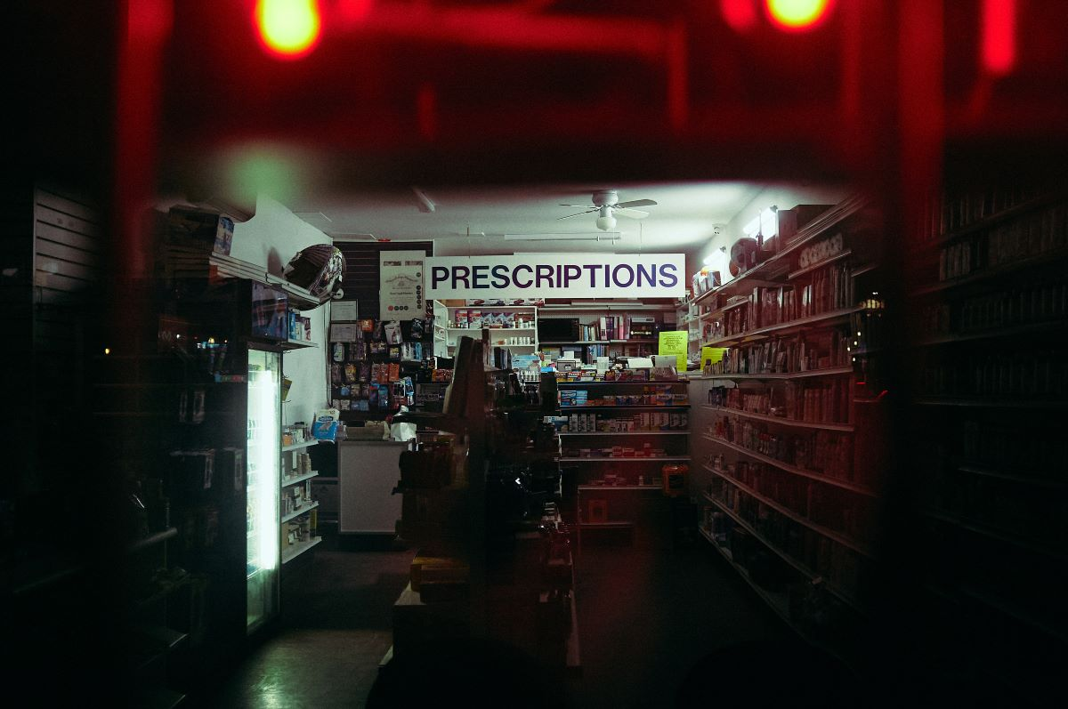 prescriptions sign inside a pharmacy