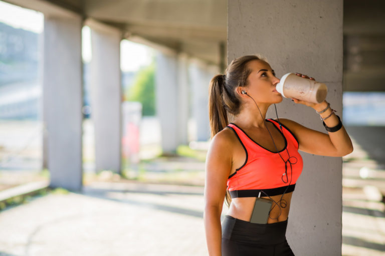 drinking water during a jog