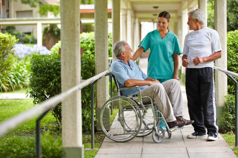 elderly being cared for