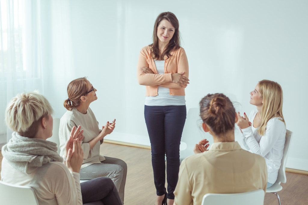 woman with support group
